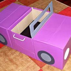 Cardboard Box Crafts For Kids - Cardboard Car Recycle Cardboard Box, Cardboard Car, Cardboard Box Crafts, Cardboard Furniture, Cardboard Playhouse, Cardboard Castle, Diy Playhouse, Kids Crafts, Projects For Kids
