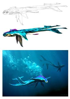 Pandora Dracocetus is a concept of a dragon-whale; an intelligent marine mammal used by the Na'vi as an underwater mount (equivalent of an ikran). Alien Concept Art, Creature Concept Art, Alien Creatures, Magical Creatures, Creature Feature, Creature Design, Manga Dragon, Alien Design, Fantasy Beasts