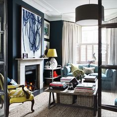 Dark Blue Living Room in Blue Room Ideas on HOUSE. Bunny Turner of design duo Turner Pocock knows the power of opposites, as the drawing room of her home demonstrates. Living Room Designs, Living Spaces, Living Rooms, Dark Blue Living Room, Blue Rooms, Blue Bedroom, White Ceiling, Black Walls, Living Room Lighting