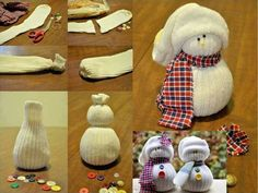 Sock Snowmen...For this craft, you'll need a pair of old socks that are crew length, or longer, rice, rubber bands, map pins with heads, buttons, any left over fabric if you want for a scarf.