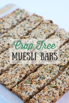 Crap Free Muesli Bars Muesli bars, granola bars, whatever you call them bars. They are the ultimate snacking item for those always on the go and always hungry (ie me). But have you ever bothered to look through the ingredient list on these bad boys in the Healthy Vegan Snacks, Healthy Eating, Healthy Recipes, Vegan Snacks On The Go, Healthy Bars, Protein Snacks, Healthy Breakfasts, Protein Bars, High Protein