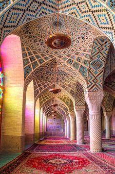 "The Mosque of Colors | The use of Stained glass is common in the interior design of Iranian architecture and also in Churches and Synagogues. But it may seem amazing to you to see it in Mosques. Nasir-ol-Molk Mosque is one of the few mosques in the world whose impressive interior design with ""stained glass"" has turned it into an admirable artwork."