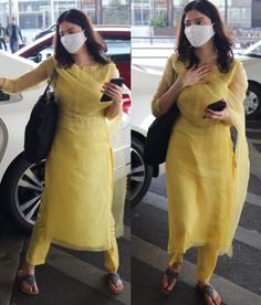 Casual Indian Fashion, Indian Fashion Dresses, Pakistani Dresses, Indian Outfits, Indian Clothes, New Suit Design, Simple Indian Suits, Yellow Suit, Desi Wear