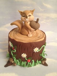 My little squirrel cake. I have no desire to have this cake. It's just soooo CUTE! Fancy Cakes, Cute Cakes, Pink Cakes, Fondant Cakes, Cupcake Cakes, Fondant Bow, Dog Cakes, Fondant Tutorial, Squirrel Cake