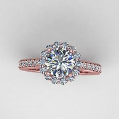 rose diamond wedding rings | rose gold diamond engagement ring with moissanite center. style ...