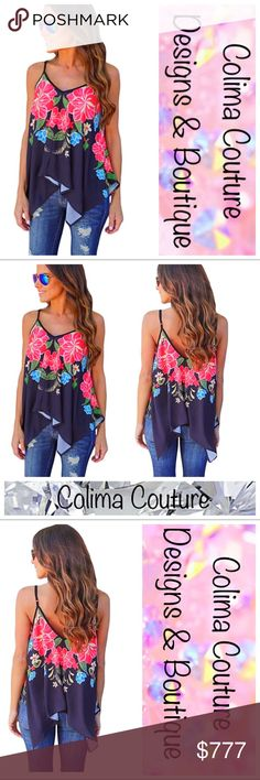 COMING SOON! This gorgeous asymmetrical tank will have you thinking you're on an island vacation! The vibrant pattern is perfect for a stunningly fresh combination, while the lightweight fabric and relaxed fit will keep you cool on even the warmest of summer days! This gorgeous tank top drapes beautifully over jeans, jeggings, or shorts for a fantastic summer look! It also has adjustable spaghetti straps and a low-cut v-neckline.  ❤️True to size ❌No trades Colima Couture Tops