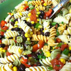 Black bean and corn pasta is very easy to make and always a great salad to take to any occasion!