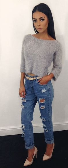 Grey Furry Crop top with Ripped Jeans and Heels | Street CHIC