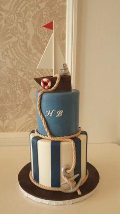 Fondant Sailboat BabyShower cake by Vanilla Bake Shop Nautical Birthday Cakes, Nautical Cake, Adult Birthday Cakes, Baby Shower Cakes For Boys, Baby Shower Cookies, Sailboat Cake, Funny Cake, Character Cakes, Cake Pictures