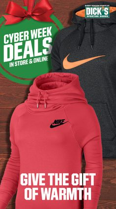 Get huge holiday savings when you give a gift that matters all week @DICKS.com. $39.98 Women's Nike Fleece