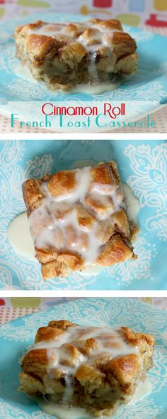 Easy-to-make recipe for cinnamon roll French toast casserole starting with refrigerated cinnamon rolls.