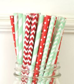 MINT GREEN & RED Paper Straws Vintage by TheSimplyChicShop on Etsy, $1.59
