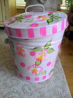 6 Gallon Hand Painted Galvanized Can by krystasinthepointe on Etsy, $65.00