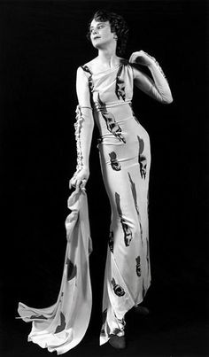 Elsa Schiaparelli designer couture 30s evening gown long dress white with novelty print wrap gloves vintage fashion style