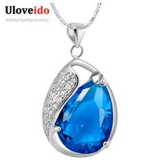 Find More Pendant Necklaces Information about Fashion Crystal Necklace for Women 925 Silver Jewelry With Blue Stone Pendant Chain Red Collares 2015  Wholesale Ulove N840,High Quality jewelry egg,China jewelry painting Suppliers, Cheap jewelry cross from ULove Fashion Jewelry Store on Aliexpress.com