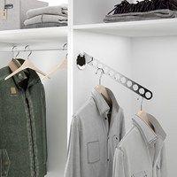 Adjustable suit hangers to help increase your wardrobe space. Wardrobe Rail, Suit Hangers, Bedroom Storage, Storage Solutions, Suits, Jet, Hanger Hooks, Suit, Wedding Suits