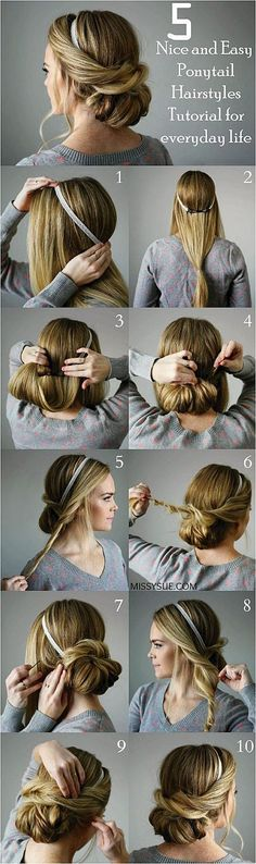 Looking for some nice and easy ponytail hairstyles idea? We are here with five nice and easy ponytail hairstyles. Ponytails are casual but if designed properly, it can be trendy as other fancy hairstyles. Though in this article dedicated to nice and #EasyBraid #BraidedHair Click to See More... Prom Hair, Prom Hairstyles