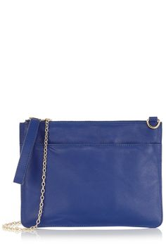 The Stephanie Leather Clutch | Blue | Oasis Stores