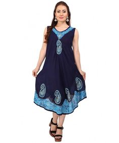 90eae315cabee Ladies Batik Dress Tunic Flared Swing Casual Sleeveless Cover Up Tank  Kaftan One Size Top - Navy-turq - C512NET7YJT