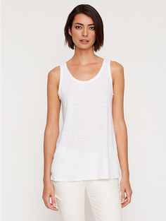 #EFPerfectGift A snow-white Organic Linen Jersey Tank. To layer in winter or star on its own on a tropical vacation.
