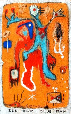Red Bear Blue Man ( acrylic and mixed media on wood, 55 x 31 cm ) Moose Art, Mixed Media, Paintings, Bear, Wood, Animals, Animales, Paint, Woodwind Instrument