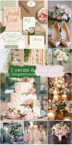 Paleta de Cores para Decoração de Casamento Rosa Chá e Verde   Color Palete for Weddings   Inspiration Board Wedding Green and Blush   Green and Pink