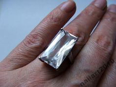 duży olbrzym srebrny pierścionek srebro cyrkonie