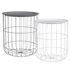 LEO 2 White and Grey Metal Wire Side Tables