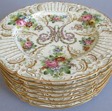 "French HP Porcelain Plates MARIE ANTOINETTE Flowers 10"" Raised GILT"