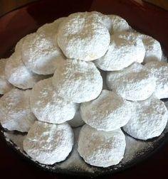 Traditional Kourampiedes (Greek Christmas Butter Cookies) - My Greek Dish Greek Sweets, Greek Desserts, Greek Recipes, Greek Cookies, Honey Cookies, Kourabiedes Recipe, Greek Christmas, Xmas, Cypriot Food