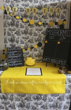 'He or She' Bumble Bee Gender Reveal Party Ideas such as food, decor, party favors, and games. Black and yellow party decor Bee Gender Reveal, Gender Reveal Themes, Baby Gender Reveal Party, Gender Party, Baby Shower Parties, Baby Shower Themes, Baby Showers, Shower Ideas, Chanel Baby Shower