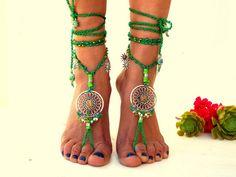 VERKOOP 30% groen Barefoot Sandals Barefoot Beach sieraden