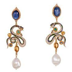 Kyanite earrings, emeralds, citrines and micro-mosaic of pearls; earrings by Percossi Papi