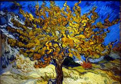 The Mulberry Tree is an oil painting by the post-impressionist artist Vincent van Gogh. The work was produced during the time Van Gogh was in voluntary confinement at the Saint-Paul-de-Mausole asylum in Saint-Rémy, South of France. Vincent Van Gogh, Art Van, Desenhos Van Gogh, Van Gogh Arte, Van Gogh Pinturas, Norton Simon, Mulberry Tree, Van Gogh Paintings, Tree Paintings