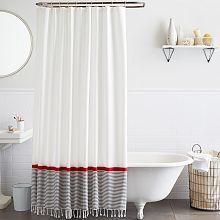 Stripe Border Shower Curtain - Stone White/Market Red // potential tub/shower set up?