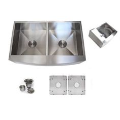 Contempo Living Inc 36 Inch Stainless Steel Farmhouse Double Bowl Curve  Apron Kitchen Sink