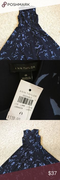 """NWT Ann Taylor Fit and Flare Dress in Navy/Lt Blue This dress is beautiful in person, the pictures do not do it justice! 44.5"""" from shoulder to hem, and 16"""" armpit to armpit. Ann Taylor Dresses Midi"""