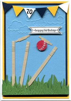 Handmade Card. Cricket themed 70th birthday card made especially for a bowler.