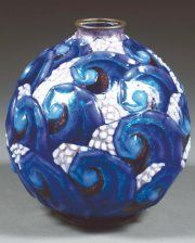 Camille FAURÉ (1874-1956)~Vase copper ball Enameled vegetable sticks~Blue and royal blue hard enamel on silver decor~Black and pink beaded morifs in base-relief background