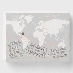World Travel Passport Stamp Journey Destination Wooden Box Sign