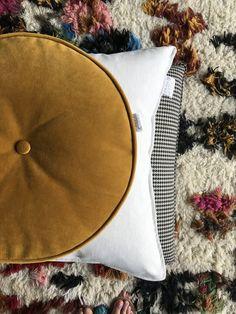 Velvet Buttoned Cushion ( inc gst)                      – Onyx & Smoke