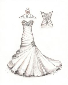 f2f31d300d5 Satin bubble hem wedding dress with small detail back and personalized  hanger sketch by Catie Stricker-Howell. A paper anniversary gift for her.