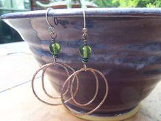 Peridot and Copper Hoop Earrings by BrazinHussyStudio on Etsy, $25.00