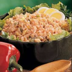 Picnic Rice Salad Recipe: Rice, french dressing, peppers, relish, mayo...