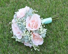 Coastal, vintage inspired silk wedding bouquet made with peach roses, mint hydrangea and ivory babies breath.