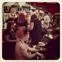 The ladies from Vintage Rocks NI apply the finishing touches to some lovely retro hairstyles and make-up.