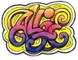 "Students are invited to design a signature using lettering of their own design, then express themselves collectively on a temporary wall installation. Vibrant colors ""sprayed"" onto paper designs give the look of an aerosol spray painting without the danger or mess."