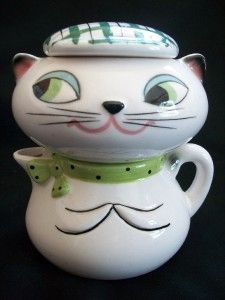 Vintage 1959 Holt Howard Cozy Kitten Cat Sugar Jar Bowl Pixieware Cream Pitcher | eBay