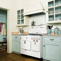 Kitchen Cabinet Painting Ideas With Combination Color Mint Blue And White