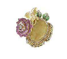 WENDY YUE ~ Rutliated Quartz Ring with champagne diamonds, pink sapphires, white diamonds, golden diamonds and rutilated quartz, in 18k gold